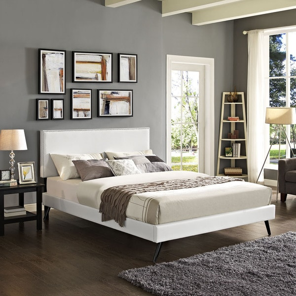 Phoebe Vinyl Platform Bed with Round Splayed Legs in White