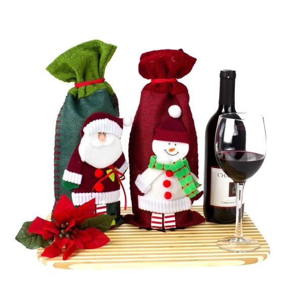 Santa Claus Christmas Wine Bottle Holders Gift Bags (Set of 2)
