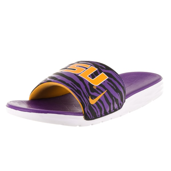 Nike Men's Benassi Solarsoft College LSU Black/University Gold/Crt Purple Sandals