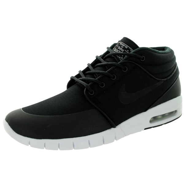 Nike Men's Stefan Janoski Max Mid Black/Black/Metallic Silver/White Skate Shoes