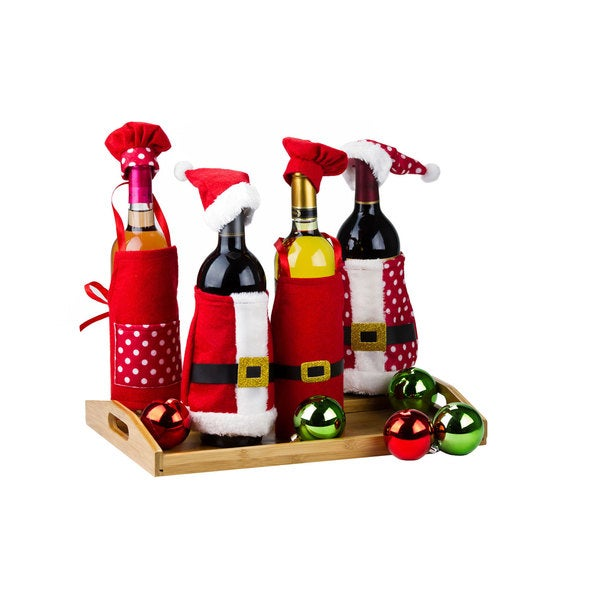 4-piece Santa-themed Christmas Wine Bottle Covers Decoration Set