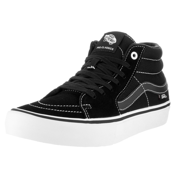 Vans Men's Sk8-Mid Pro Black and White Suede Skate Shoe