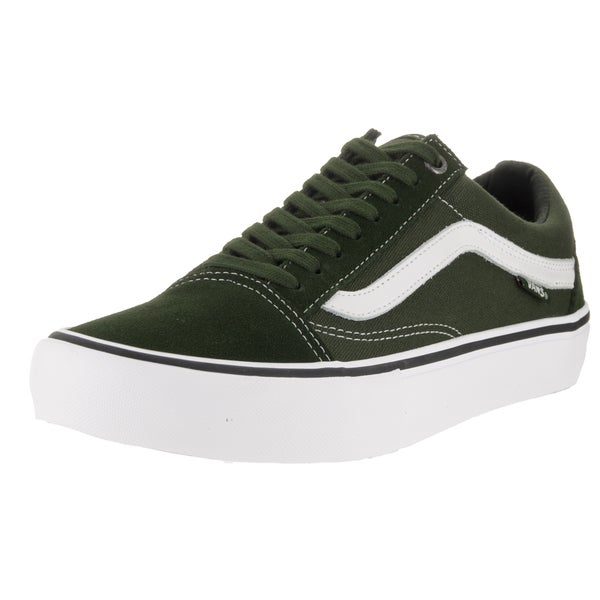 Vans Men's Old Skool Pro Dark Green and White Skate Shoe