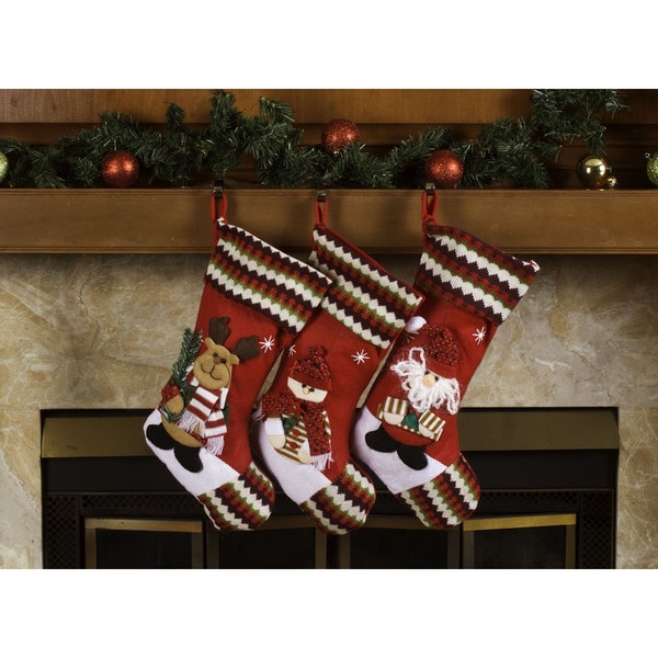 Classic 3D Christmas Stockings 18-inch Santa Claus & Friends Xmas Stockings (Pack of 3)
