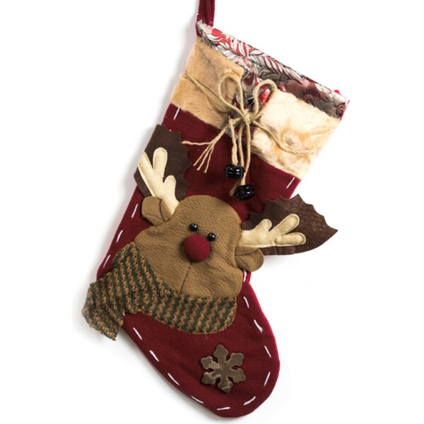 Classic Christmas Stockings 19-inch Embroidered Reindeer Xmas Stockings with Jingle Bells