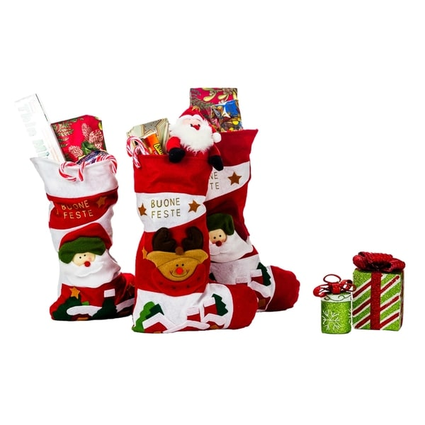 Santa Clause and Friends Xmas Multicolor Polyester 18-inch Italian Christmas Stockings (Pack of 3)