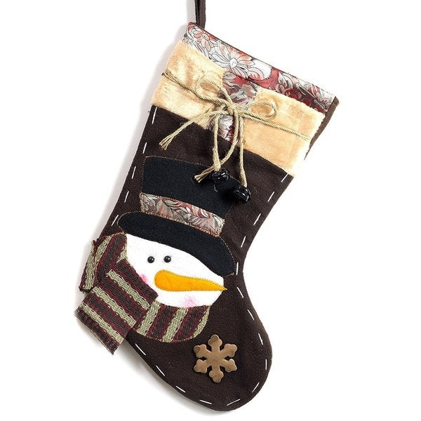 Classic Christmas Stockings Enbroidered Snowman Brown Polyester 19-inch Xmas Stocking With Jingle Bells