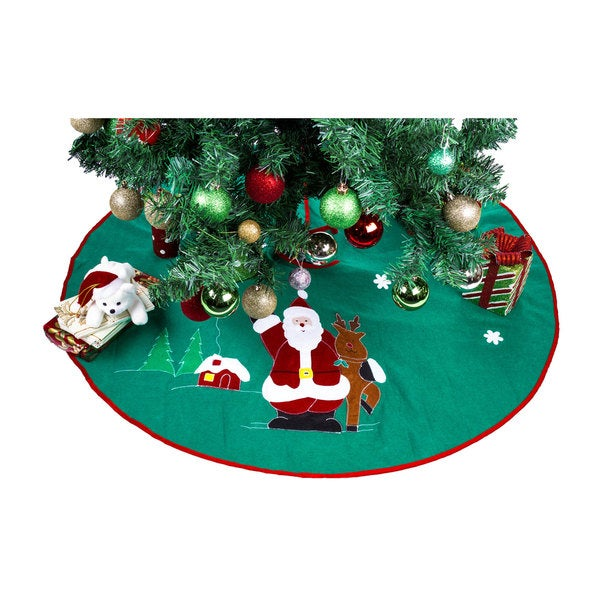 'Santa Claus & Reindeer' Green Polyester 36-inch Christmas Tree Skirt