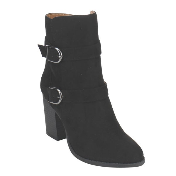 X2B GF86 Women's Double Buckle Straps Stacked Heel Ankle Booties
