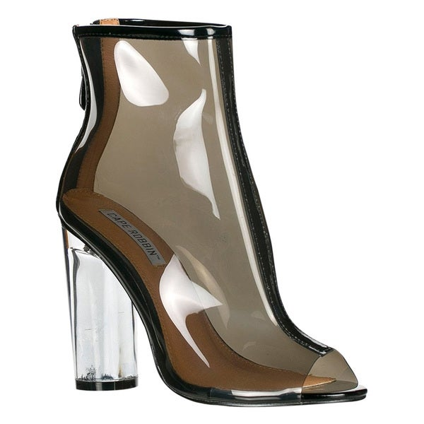 Cape Robbin FF66 Women's Peep-toe Clearn Block Perspex Heel Ankle Booties