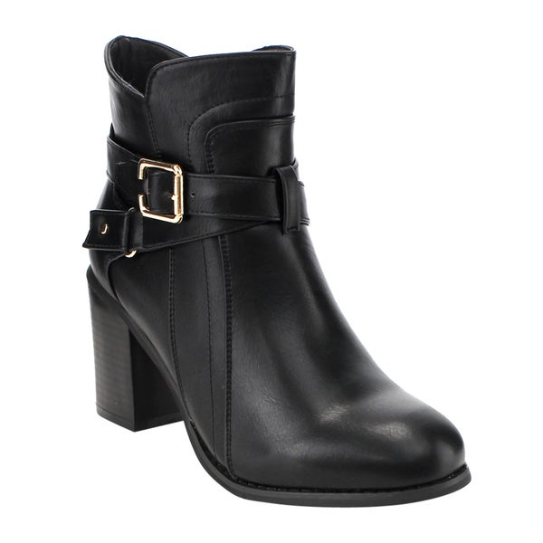 Forever GD88 Women's Black Faux-leather Buckle-strap Deco Block-heel Zipper Ankle Booties