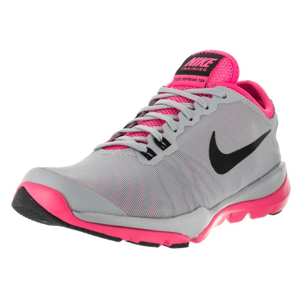 Nike Women's Flex Supreme Tr 4 Wolf Grey, Black, and Pink Textile Training Shoes