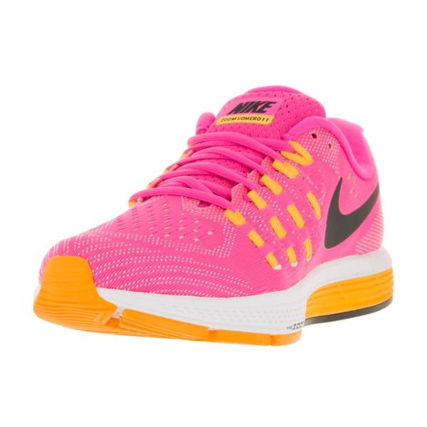 Nike Women's Air Zoom Vomero 11 Pink Blast, Black, Laser Orange, and Atomic Pink Synthetic Running Shoes