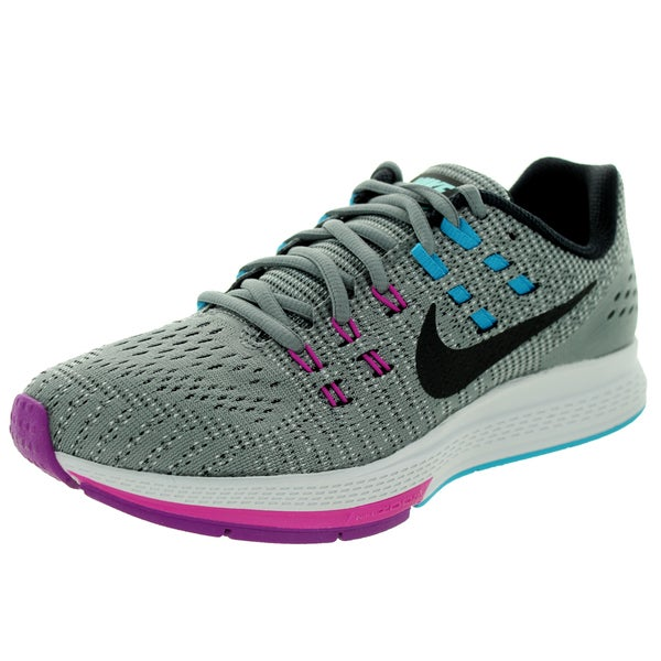 Nike Women's 'Air Zoom Structure 19 Flash' Cool Grey, Black, and Fuchsia Textile Running Shoes