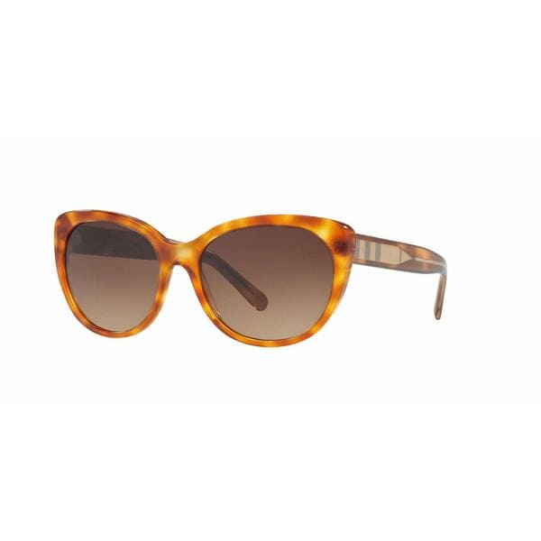 Burberry Women BE4224 305413 Havana Plastic Cat Eye Sunglasses