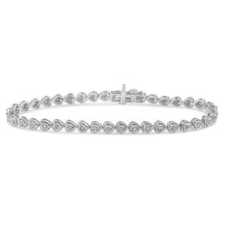 "Original Classics .925 Sterling Silver 1.0 Cttw Miracle Set Diamond Heart-Link 7"" Tennis Bracelet (I-J, I2-I3)"