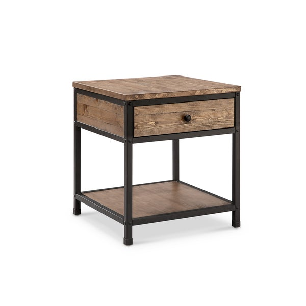 Magnussen Maguire Weathered, Brown Wood and Metal Square End Table