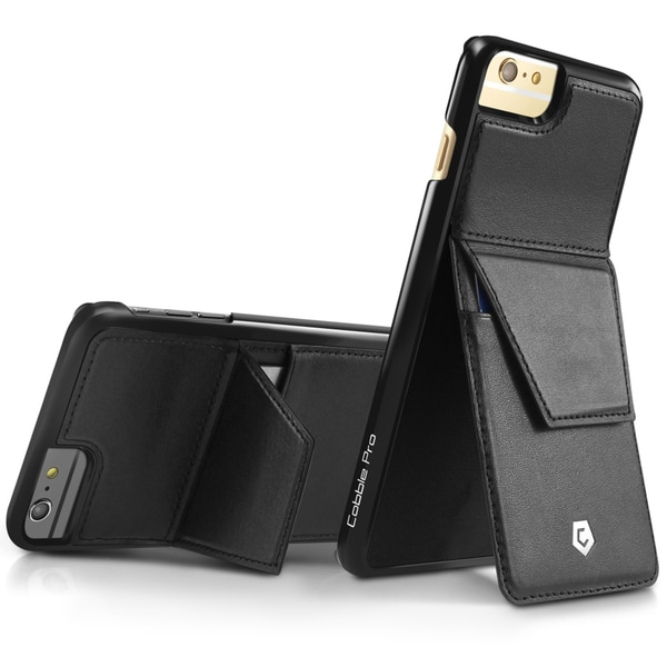 CobblePro Black Genuine Leather Case Cover with Stand/ Wallet Flap Pouch For Apple iPhone 6 Plus/ 6s Plus