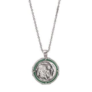 American Coin Treasures Buffalo Nickel Green Enamel Coin Pendant Necklace