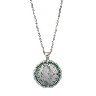 American Coin Treasures Liberty Nickel Green Enamel Coin Pendant Necklace