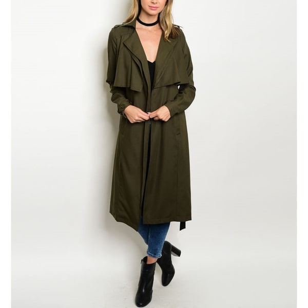 Women's Olive Green Military-Style Belted Trench Coat