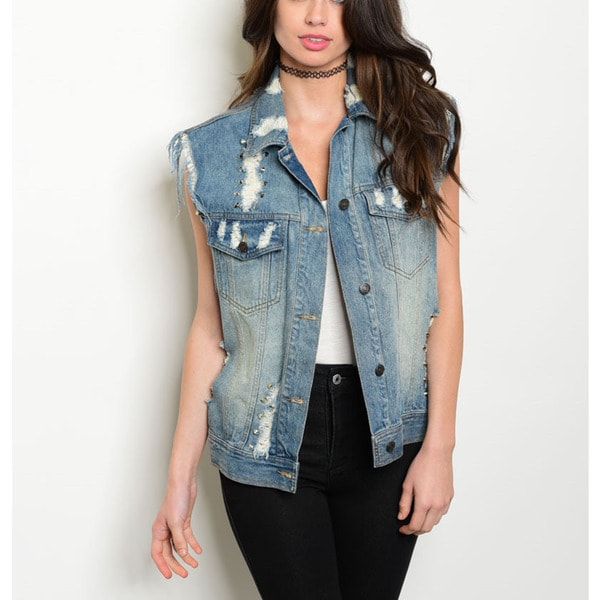 Women's Blue Cotton Sleeveless, Studded, Distressed Denim Vest
