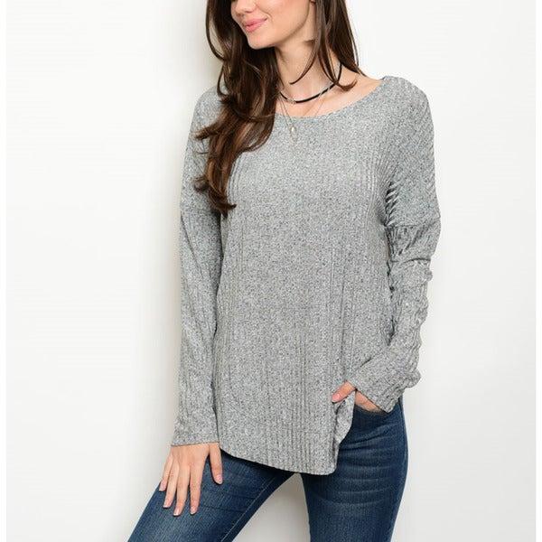 Women's Grey Spandex Long-Sleeve Ribbed Sweater 22075221