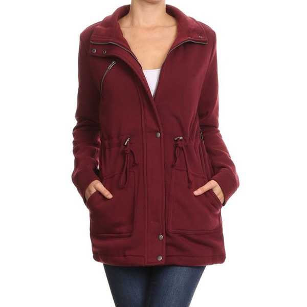 Jed Women's Burgundy Cotton and Polyester High-neck Drawstring Waist Jacket