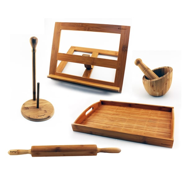 BergHOFF Bamboo 6-piece Prep Set With Paper Towel Holder, Rolling Pin, Tab Holder, Garlic Bowl, and Tray