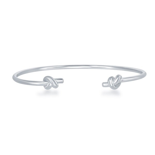 La Preciosa Sterling Silver Knot Ends Cuff Bangle