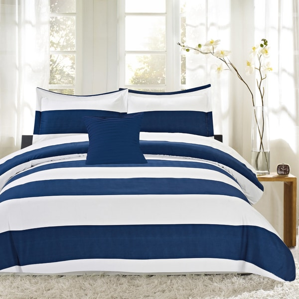Nautical Stripe 4 Piece Print Reversible Comforter Set