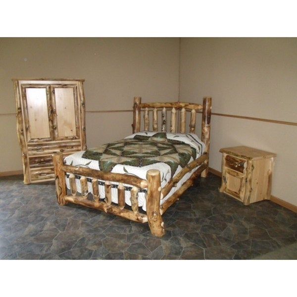 Rustic Aspen Log Complete BEDROOM SET: Includes Bed, Armoire & Nightstand