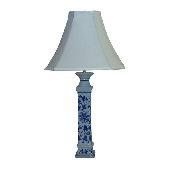 Crown Lighting Cermamic 1-light Blue and White Floral Pattern Table Lamp Buffet Lamp