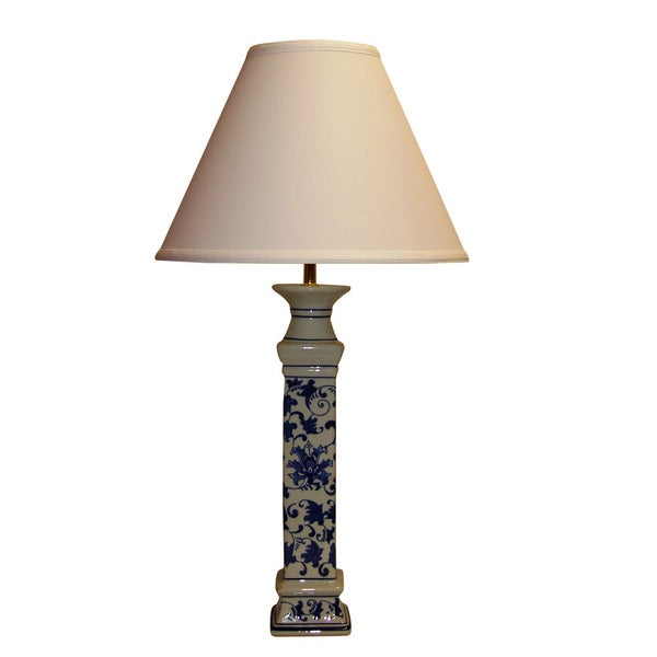 Crown Lighting Cermamic 1-light Blue and White Floral Pattern Table Lamp/Buffet Lamp
