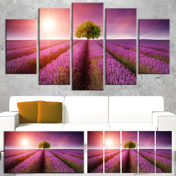 Designart 'Purple Sky over Stunning Lavender Field' Large Floral Canvas Art Print