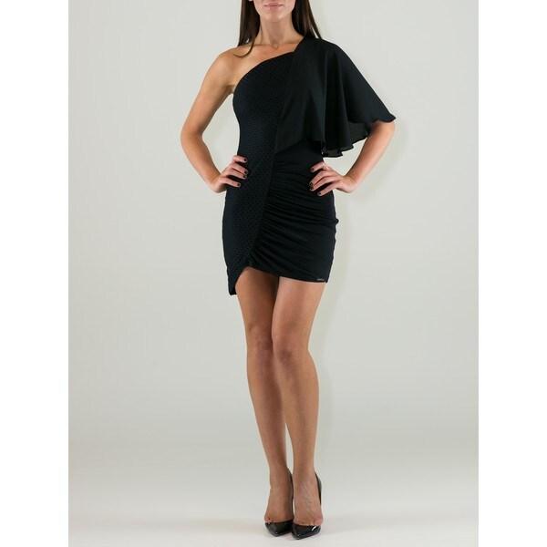Women's Black Viscose One-shoulder Crochet Sheath Dress