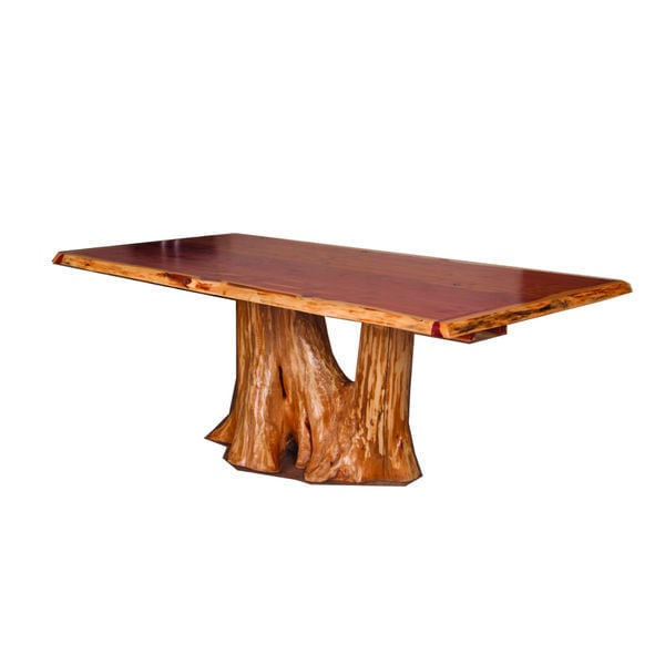 RUSTIC RED CEDAR LOG TREE STUMP / TRUNK DINING TABLE