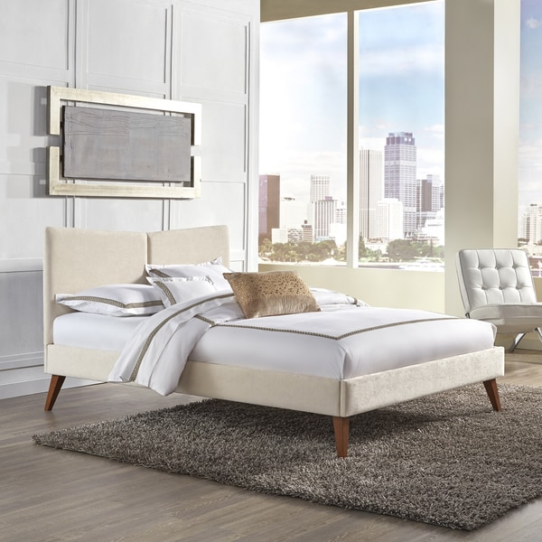 Parkland Complete Platform Bed with Angled Headboard and Upholstered Frame