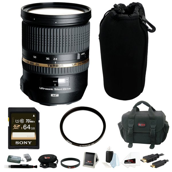 Tamron SP 24-70mm Di VC USD Canon Mount AFA007C-700 (Model A007E) with 64GB SD Card Bundle