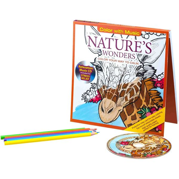 Color with Music Nature's Wonders Stress Relieving Designs Adult Coloring Book with Bonus Relaxation CD