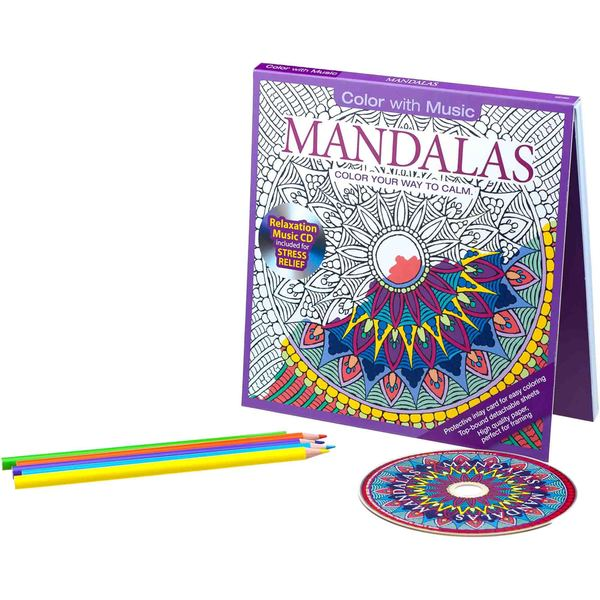 Color with Music Mandalas Stress Relieving Designs Adult Coloring Book with Bonus Relaxation CD