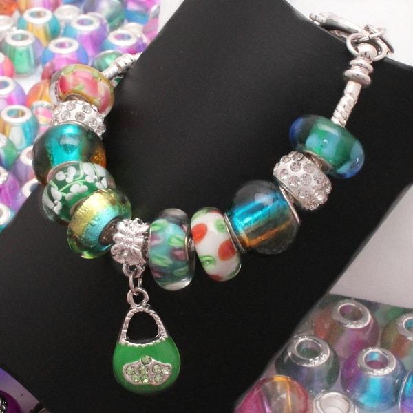 """Lucky Lucy"" Silver Pandora-Style Charm Bracelet"