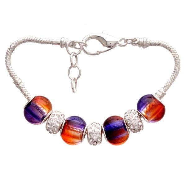 Purple and Orange Gradient Pandora-Style Charm and Rhinestone Bracelet