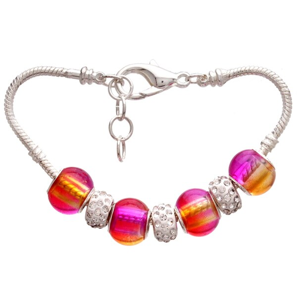 Pink and Orange Gradient Pandora-Style Rhinestone and Charm Bracelet