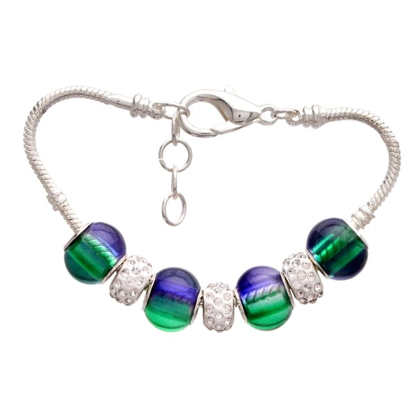Green and Purple Gradient Pandora-Style Charm and Rhinestone Bracelet