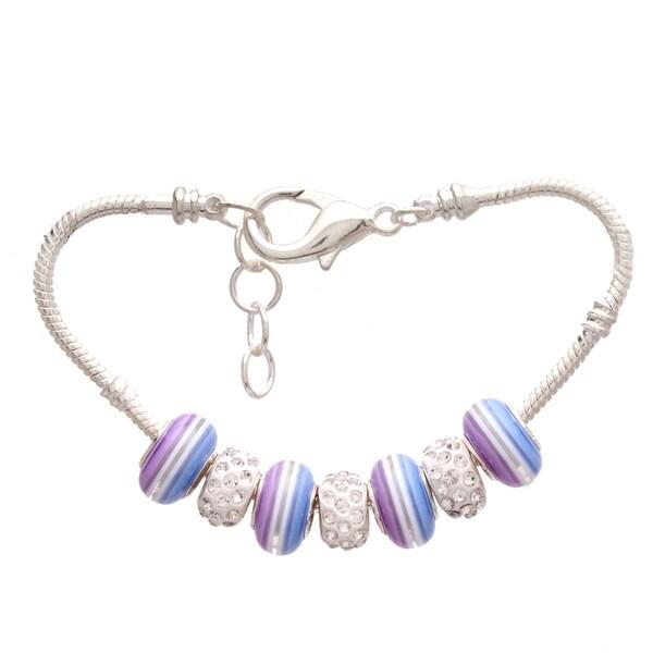 'Lavender Rainbow' Pandora-Style Charm Bracelet