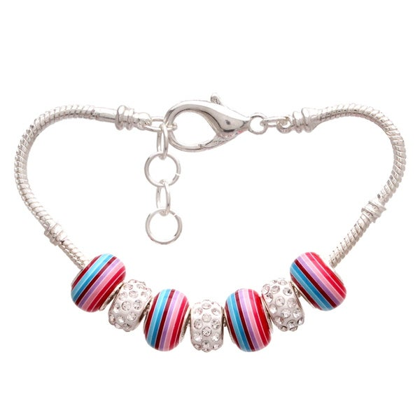 """Rainbow Love"" Pandora-Style Charm Bracelet"