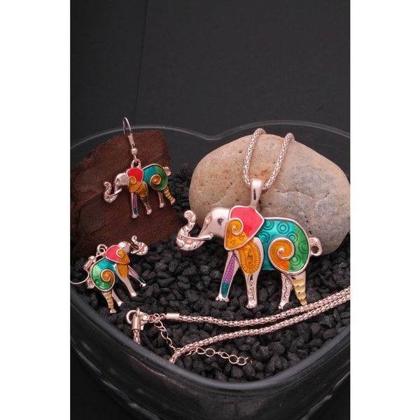 Rainbow Mosaic Elephant Necklace and Earrings (2-Piece Set)