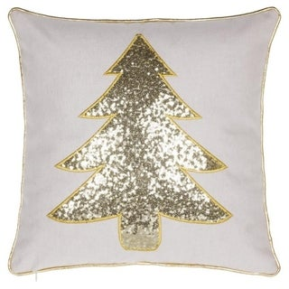 White Christmas Tree Sequin Embroidery Throw Pillow - Gold / Silver