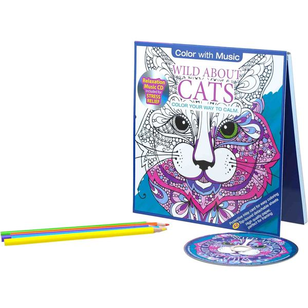 Color with Music Wild About Cats Stress Relieving Designs Adult Coloring Book with Bonus Relaxation CD
